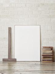 Mock up frame, hipster corner, 3d render