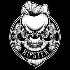 Vintage Badge Hipster Skull