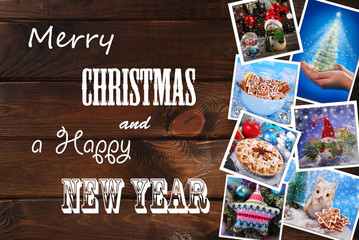 wooden background with christmas images collection and greetings
