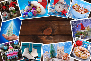 wooden background with christmas images collection lying around