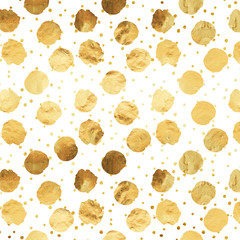 Gold Faux Foil Metallic Dots White Background Pattern