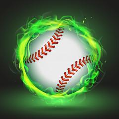 Vector baseball ball in green flame