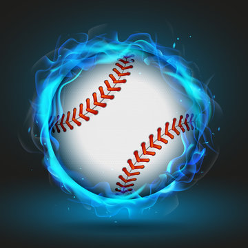 Vector baseball ball in blue flame