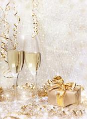 Foto auf Gartenposter Alkohol Silvester Sekt Geschenk