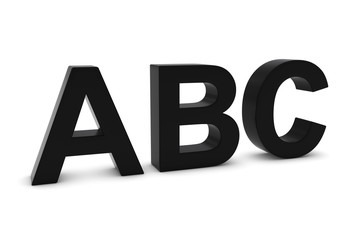 ABC Black 3D Text Isolated on White with Shadows