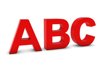 ABC Red 3D Text Isolated on White with Shadows
