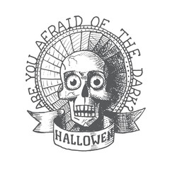 Vector halloween hand draw skull. Eps10