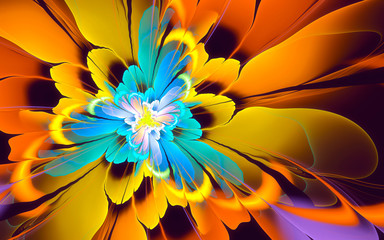 Abstract fractal background, yellow-cyan flower
