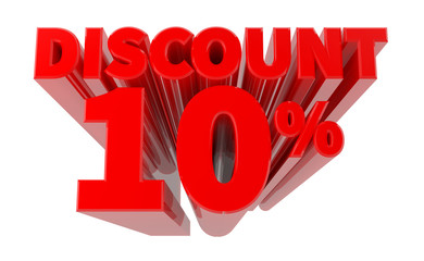 3D DISCOUNT 10% word on white background 3d rendering