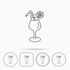 Cocktail icon. Glass of alcohol drink sign.