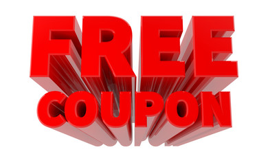 3D FREE COUPON word on white background 3d rendering