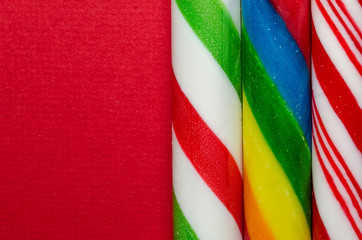 Three different candy canes