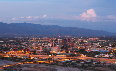 Tucson Skyline Showing the Downtown of Tucson after Sunset from Sentinel Peak Park, Tucson Arizona, USA
