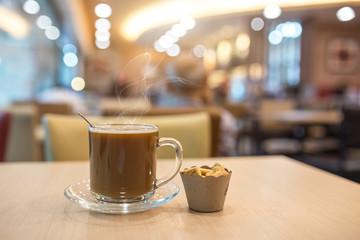 Hot coffee in coffee shop