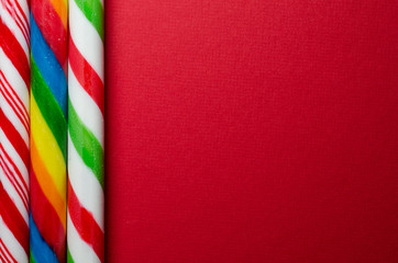 Three candy canes on the left