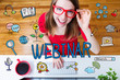Webinar concept with young woman with red glasses