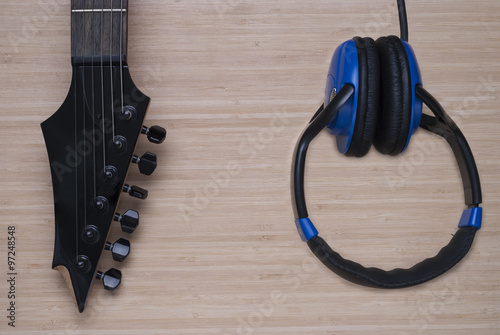 electric guitar and headphones stock photo and royalty free images on pic 97248548. Black Bedroom Furniture Sets. Home Design Ideas