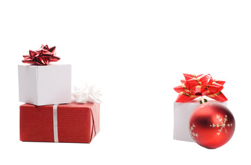 boxes with gifts on white background