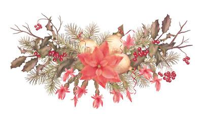 Christmas Retro Watercolor Holiday Garland