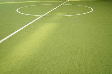 footsal green grass field and white line