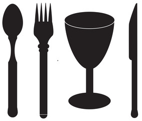Cutlery and cup vector silhouette