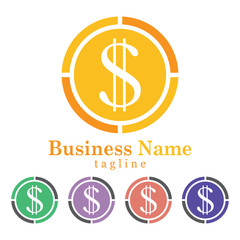Money Icon Logo Vector With Five Colors Options
