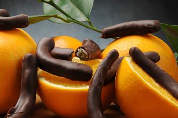Candied orange skin with finest dark chocolate