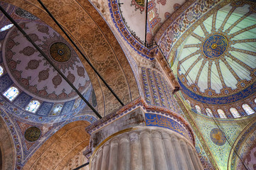 The сeiling decorations in the interior of Sultan Ahmed Mosque