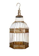 vintage bird cage isolated on white background