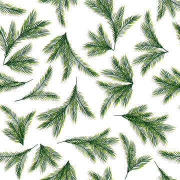 Seamless pattern with spruce or pine branches. Christmas tree. Fabric ornament. Vector, EPS 10