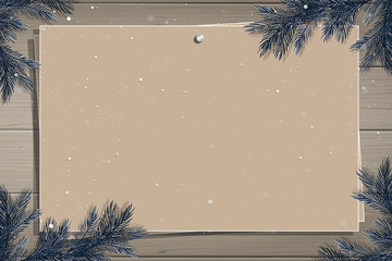 Wooden board with photo and place for inscription. Christmas pine twigs and spruce branches. Christmas border. Inspiration board. Christmas mockup. Vector, EPS 10.