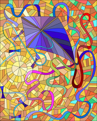 Purple kite with colorful ribbons in the sun and orange sky in the stained glass style