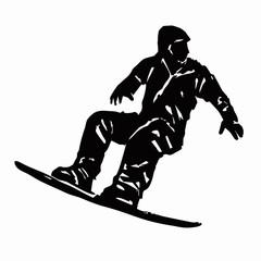 snowboarder man, vector grunge sketch
