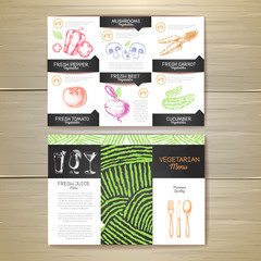 Vintage chalk drawing vegetarian food menu design. Corporate ide