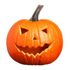 Halloween Pumpkin isolated on white. Scary Jack O'Lantern