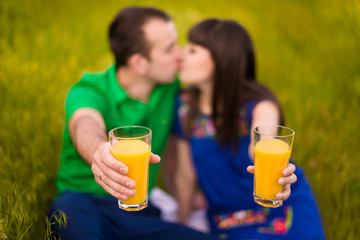 Couple is drinking juice