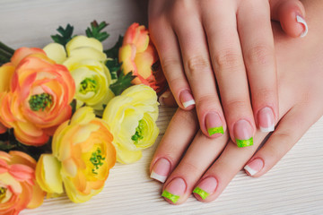 French nail art in green color