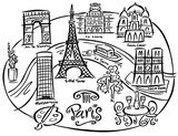 Illustrated Map Of Paris France Stock Image And Royaltyfree - Paris map outline