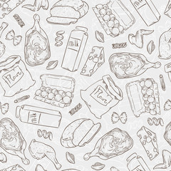 Vector seamless illustration of different food.
