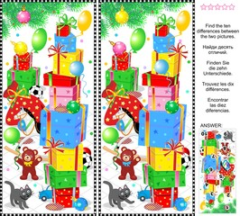 New Year or Christmas visual puzzle: Find the ten differences between the two pictures of holiday presents, toys and ornaments. Answer included.