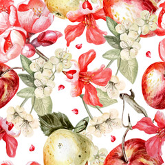 Watercolor pattern with apples and flowers of pomegranate and apple