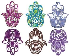 Set of hamsa hand . Hand of Fatima