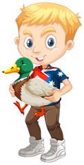 Little boy and a duck