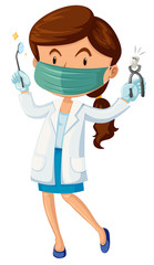 Female dentist with tooth and tools