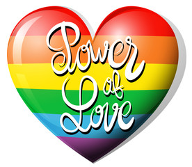 Power of love and rainbow heart