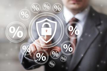 Businessman push web button locked shield security virus percent