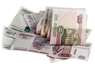 The Russian money on a white background
