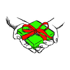 illustration vector doodle hand drawn of sketch hand of person giving or receiving green gift package with red ribbon, isolated on white background.