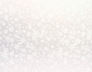 Winter snowflakes silver background