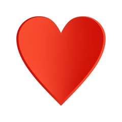 Red heart with a black contour on a white background